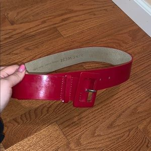Red patent leather belt